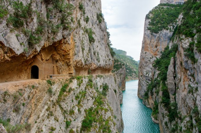 Defile in Congost de Mont-rebei, Catalonia, Spain