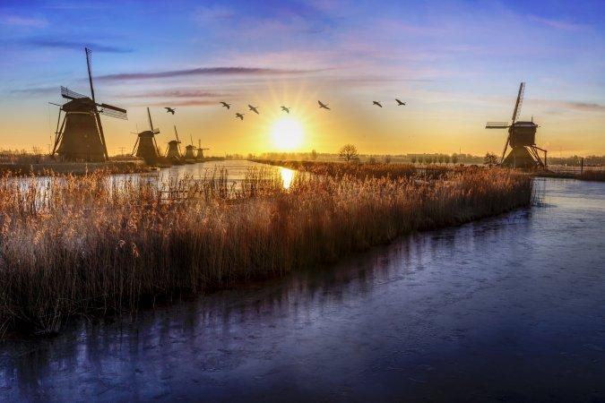 Molinos de viento en Kinderdijk, Holanda